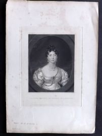 Coombs after Thomas Lawrence 1841 Mezzotint. Duchess of Gloucestershire
